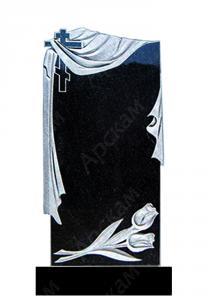 Гранитный памятник (с крестом и тюльпанами) 120х60