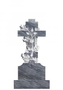 Мраморный памятник (крест с розами) 100х45